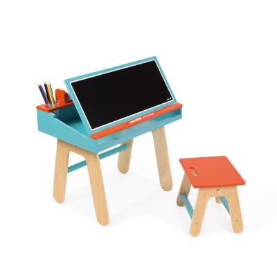 bureau et chaise en bois orange et bleu jeux et jouets janod avenue des jeux. Black Bedroom Furniture Sets. Home Design Ideas