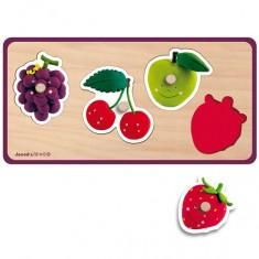 Encastrement 4 pièces en bois : Puzzle Quadrifruits Fleurus