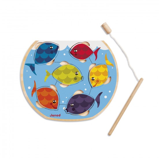 Encastrement 6 pièces en bois : Puzzle speedy fish - Janod-J07008