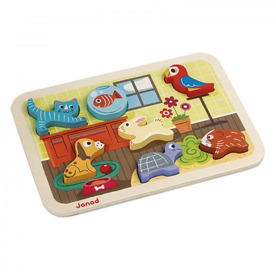 Encastrement 7 pièces en bois : Chunky Puzzle Animo - Janod-J07024