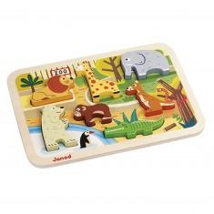 Encastrement 7 pièces en bois : Chunky Puzzle Zoo