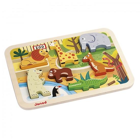 Encastrement 7 pièces en bois : Chunky Puzzle Zoo - Janod-J07022