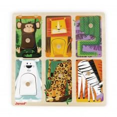 Encastrement tactile 6 pièces : Animaux du zoo