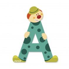 Lettre décorative clown en bois : A