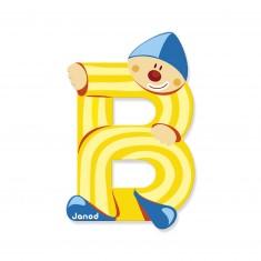 Lettre décorative clown en bois : B