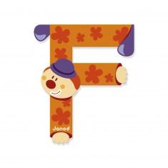 Lettre décorative clown en bois : F