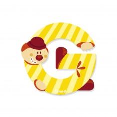 Lettre décorative clown en bois : G
