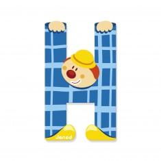 Lettre décorative clown en bois : H