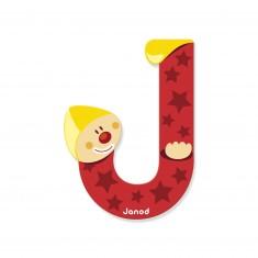 Lettre décorative clown en bois : J