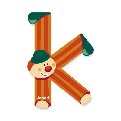Lettre d corative clown en bois k jeux et jouets janod - Lettre decorative en bois ...