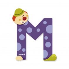 Lettre décorative clown en bois : M