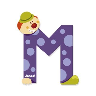 Lettre d corative clown en bois m jeux et jouets janod avenue des jeux - Lettre decorative en bois ...