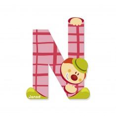Lettre décorative clown en bois : N