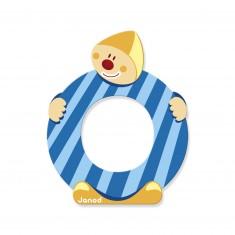 Lettre décorative clown en bois : O