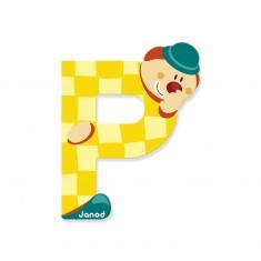 Lettre décorative clown en bois : P