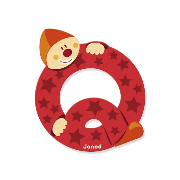 Lettre d corative clown en bois q jeux et jouets janod - Lettre decorative en bois ...