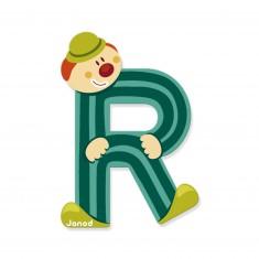 Lettre décorative clown en bois : R