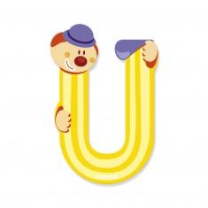 Lettre décorative clown en bois : U