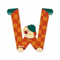 Lettre décorative clown en bois : W