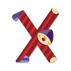Lettre décorative clown en bois : X