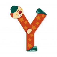 Lettre décorative clown en bois : Y