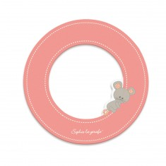 Lettre décorative Sophie la Girafe : O (rose)