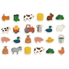 Magnets en bois : 24 pièces : Ferme