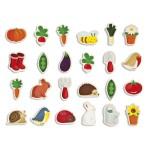 Magnets en bois : 24 pièces : Jardin