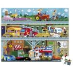 Puzzle 100 pièces : Les véhicules en valisette