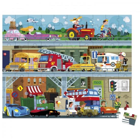 Puzzle 100 pièces : Les véhicules en valisette - Janod-J02877