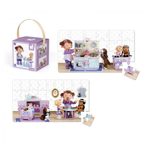 Puzzle 24 et 36 pièces : Lovely puzzle Lola joue à la dînette - Janod-J02769