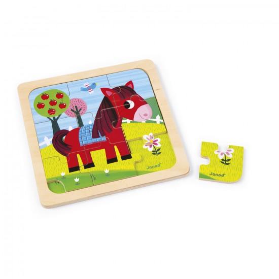 Puzzle en bois : Cheval Tornado - 9 pièces - Janod-J07063