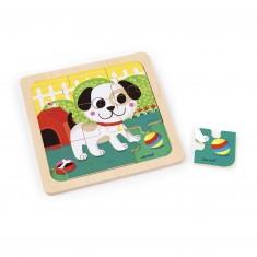 Puzzle en bois : Chien Titus - 9 pièces