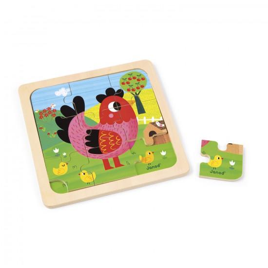 Puzzle en bois : Poulette Violette - 9 pièces - Janod-J07064