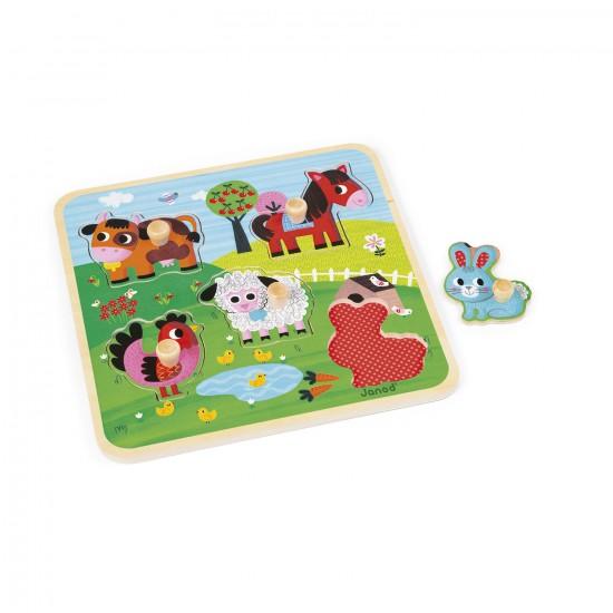 Puzzle encastrement en bois : Ferme du bonheur - Janod-J07065