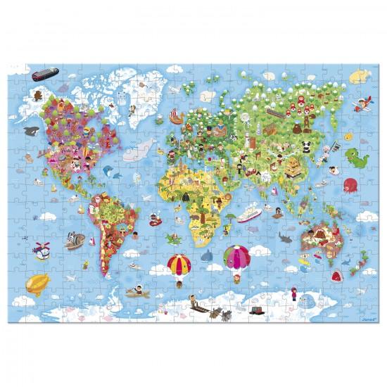Puzzle géant 300 pièces : Carte du monde - Janod-J02775