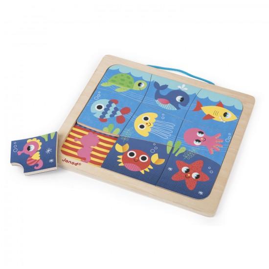 Puzzle magnétique 9 pièces : Magneto Puzzle Happy Fish - Janod-J08181