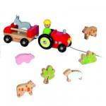 Tracteur Multi Animo et animaux de la ferme en bois