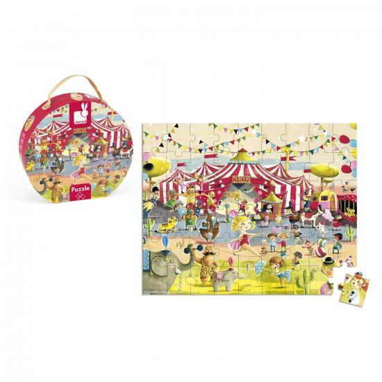 Valisette ronde : puzzle cirque 54 pièces - Janod-J02874