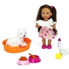 Poupée Jenny : Laura et ses petits animaux : Chiens blancs