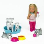 Poupée Jenny : Laura et ses petits animaux : Chiens gris