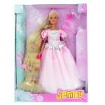 Poupée Jenny Princesse longue chevelure : Robe rose et argent