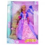 Poupée Jenny Princesse longue chevelure : Robe rose et mauve