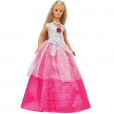 Poupée Jenny romantique : Robe Blanche et rose
