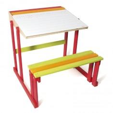Bureau d'écolier en bois : Pupitre réversible