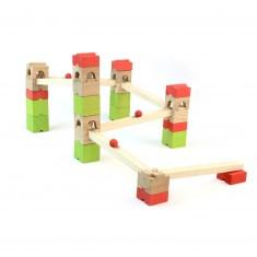 Circuit de billes en bois : 39 pièces