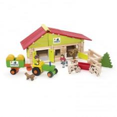 Ferme avec tracteur et animaux 140 pièces