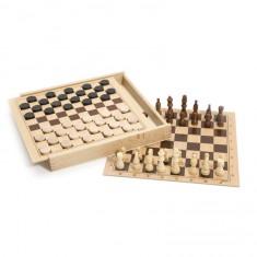 Jeux de dames et d'échecs : Coffret en bois