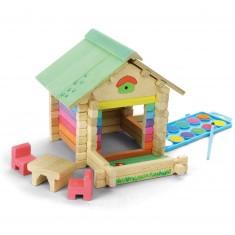 Maison en bois à peindre et à construire avec 65 pièces
