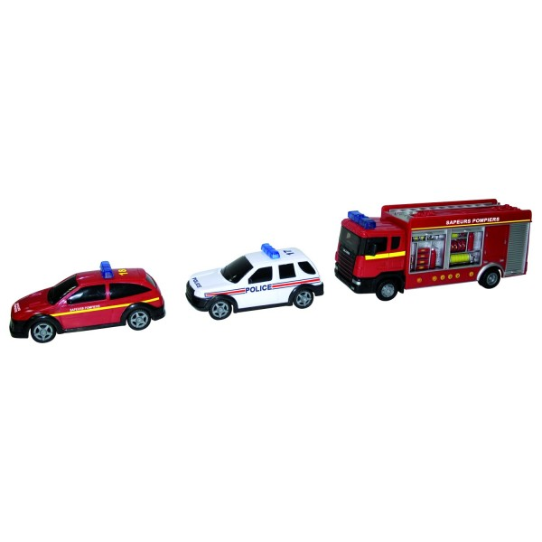 Camion de pompiers avec tuyaux et voitures de secours jeux et jouets john w - Voiture pompier enfant ...